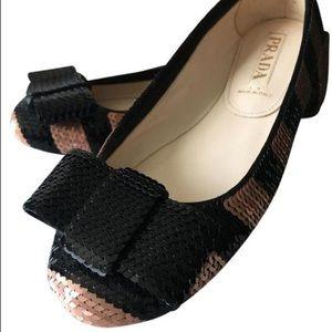 Prada Calzature Donna Sequin Bow Flats